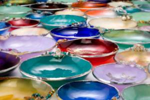 Stained glass bowls by Gravity Ranch Designs.